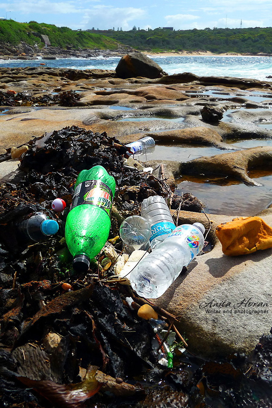 Plastic rubbish under the bridge with La Perouse beach in the distance.