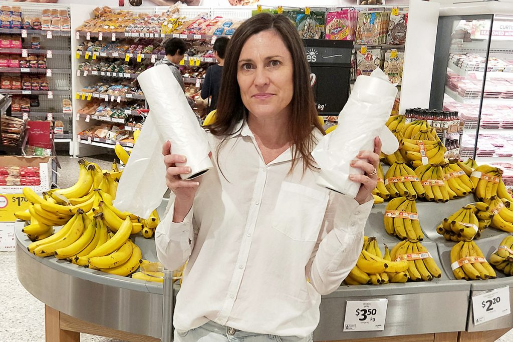 Anita Horan with the free plastic bags on offer in the fresh produce section of the supermarket.