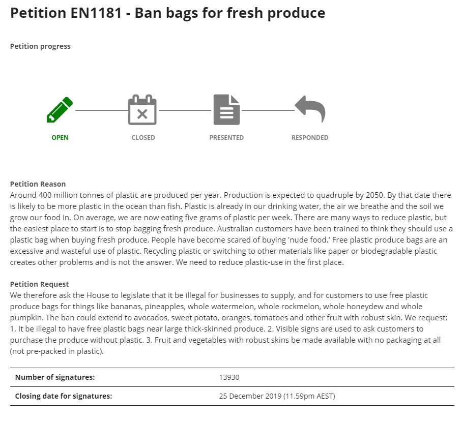 Petition with the Australian House of Representatives to ban bags for fresh produce.